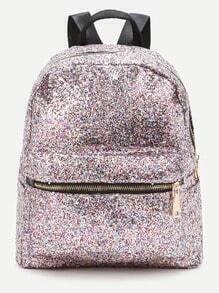 Pink Front Zipper Glitter Rucksack