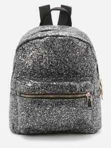 Silberne Front Zipper Glitter Rucksack
