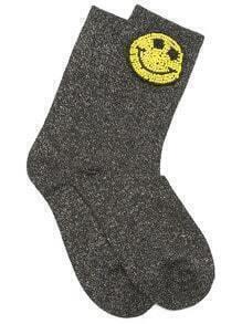 Black Happy Smile Design Ankle Socks