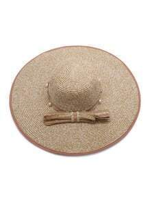 Khaki Faux Pearl Straw Hat With Bow Tie