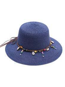 Blue Beaded Detail Straw Hat
