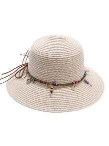 Apricot Beaded Detail Straw Hat
