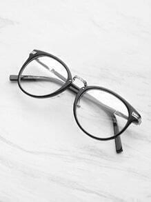 Schwarzer Rahmen Metall Arm Clear Lens Brille