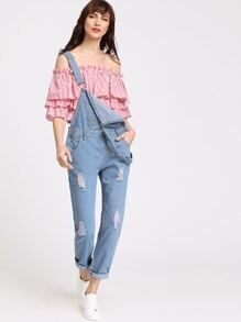 Blue Ripped Rolled Hem Denim Overall Pants