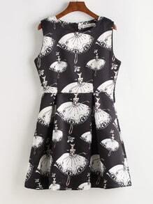 Black Girl Print Fit & Flare Dress