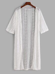 Kimono de manga media y croché con encaje-blanco
