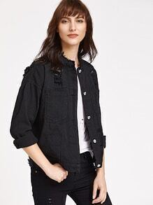 Black Ripped Frayed Neck Denim Jacket