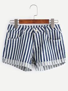 Contrast Striped Rolled Hem Denim Shorts