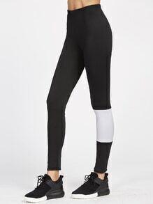 Leggings de color combinado y cintura elástica