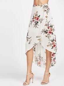 Beige Floral Print Dip Hem Wrap Skirt
