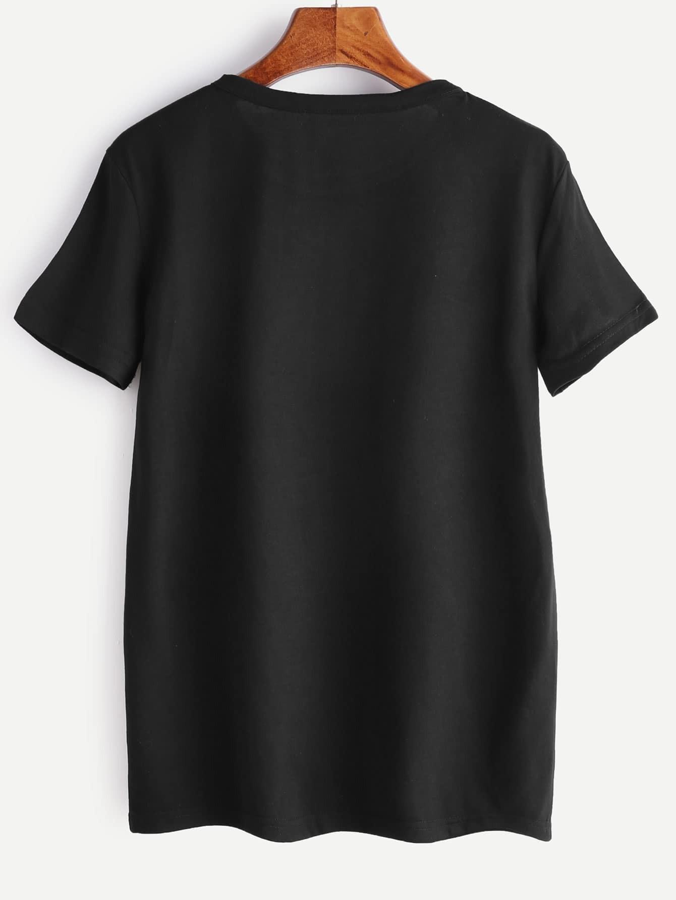 t shirt noir d 39 impression de lettre french romwe. Black Bedroom Furniture Sets. Home Design Ideas