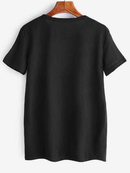 Black Letter Print T-shirt