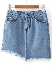 Falda asimétrica en denim con bolsillo - azul