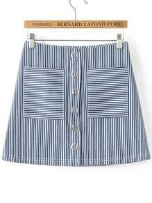 Blue Vertical Striped Eyelet Detail Skirt With Pocket