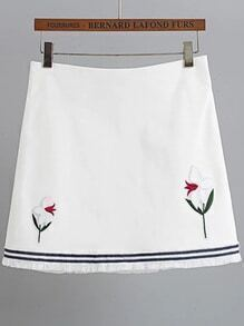 White Floral Embroidery Fringe Hem Skirt