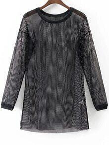 Black Long Sleeve Casual Mesh Dress