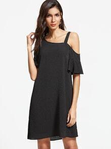 Black Asymmetric Cold Shoulder Ruffle Sleeve Dress