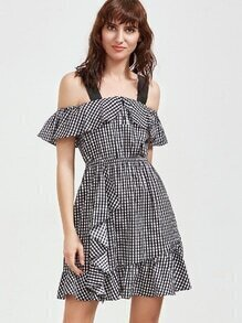 Black And White Checkered Cold Shoulder Ruffle Dress