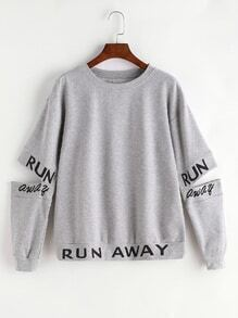Heather Grey Letter Print Split Elbow Sweatshirt