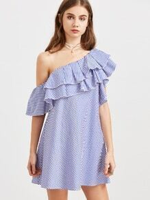 Vestido de rayas con un hombro con volantes - azul