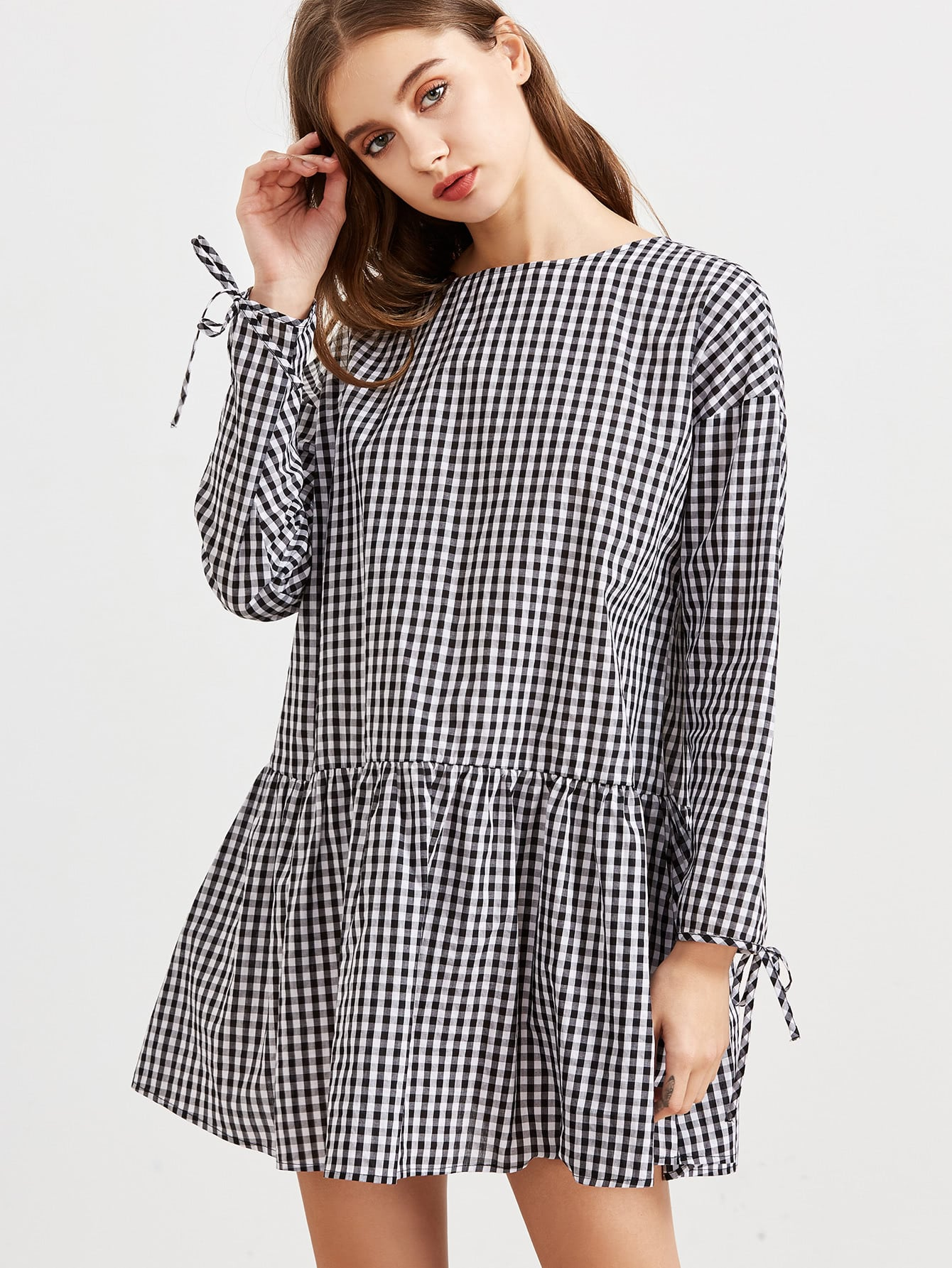c6d68a3c63e Black And White Checkered Tie Sleeve Ruffle Hem Dress | ROMWE