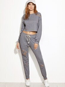 Heather Grey Ripped Crop Sweatshirt With Pants