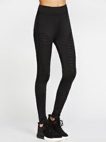Leggings con malla - negro