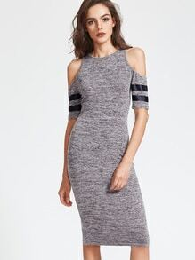 Grey Marled Cold Shoulder Striped Sleeve Dress