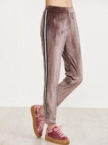Pantalons de survêtement velours avec tape à rayure détail -marron