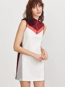 Color Block Chevron Pattern Zip Neck Sleeveless Dress