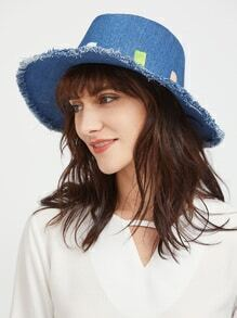 Blue Denim Hat With Raw Trim Design