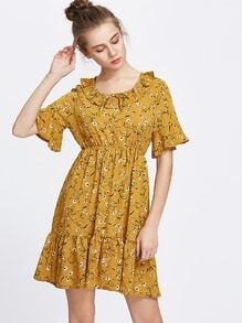 Yellow Floral Print Bell Sleeve Frill Hem Dress