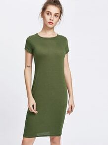 Army Green Sheath Tee Dress