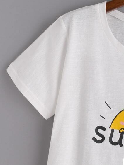 White Cartoon Print Crop T-shirt