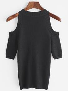 Black Ribbed Knitted Cold Shoulder Sweater