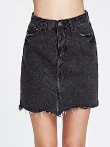 Falda deshilachada con bolsillos - negro
