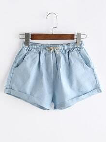 Blue Drawstring Cuffed Hem Shorts