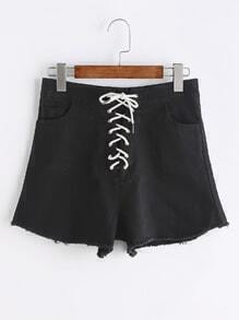 Black Lace Up Front Raw Hem Shorts