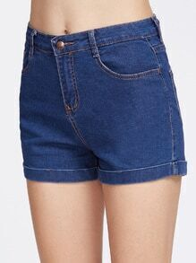 Shorts en denim con vuelta - azul