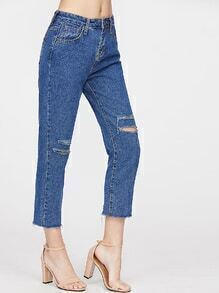 Blue Ripped Straight Cropped Jeans