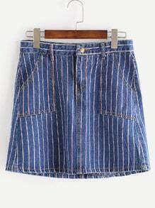 Dark Blue Striped Pockets A-Line Denim Skirt