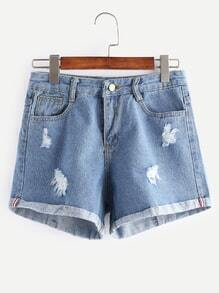 Blue Pockets Frayed Cuffed Denim Shorts