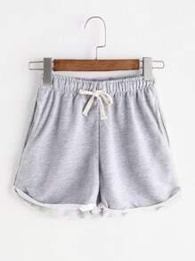 Shorts de cintura con cordón - gris