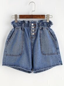 Blue Single Breasted Elastic Waist Denim Shorts