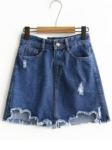 Blue Raw Hem A Line Denim Skirt