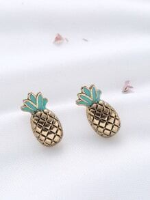 Gold Pineapple Shaped Cute Stud Earrings