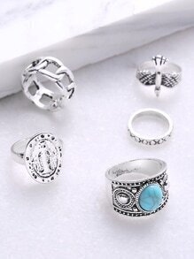 Turquoise Gemstone Detail Hollow Out Ring Set