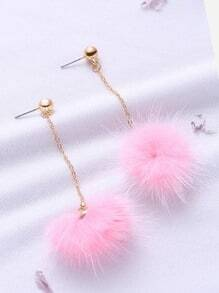 Pink Pom Pom Drop Earrings