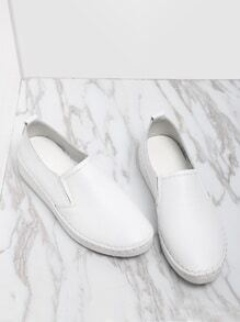 White Casual PU Flats