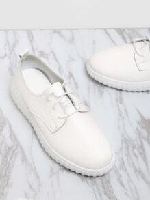 Zapatillas de pu con cordones - blanco